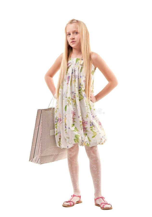 torby dziewczyny mały zakupy zdjęcia royalty free