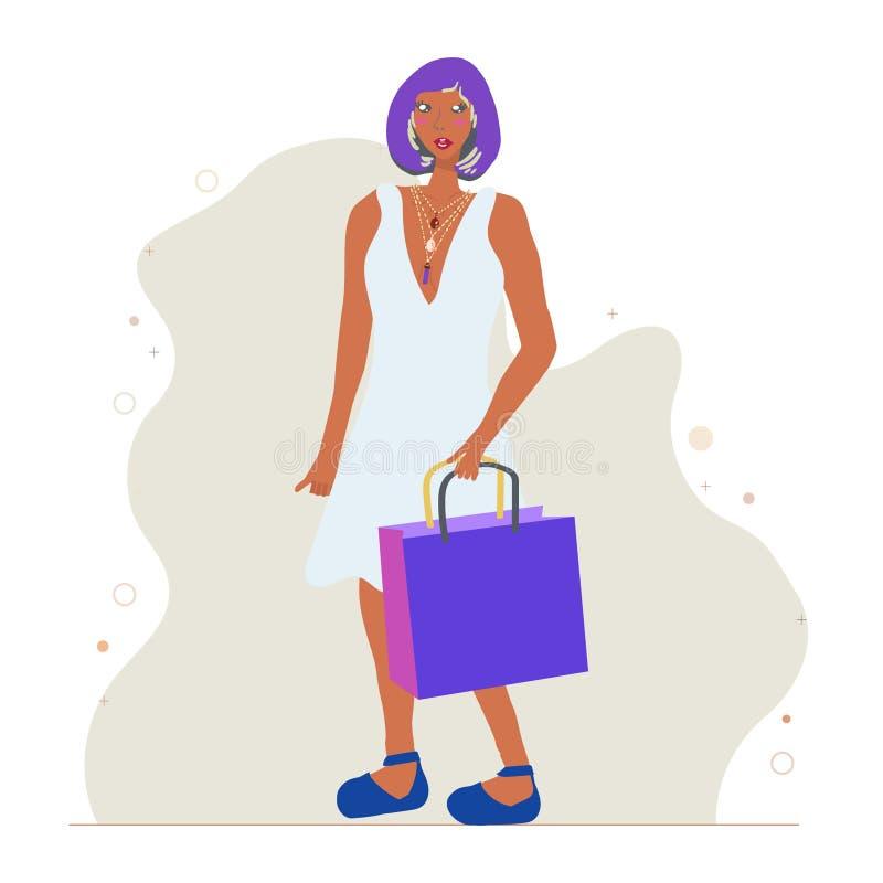torby dziewczyny zakupy potomstwa Być ubranym modne wieloskładnikowe kolie ilustracja wektor