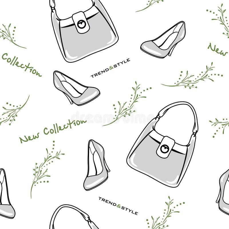 Torby i buty kolekcja nowa bezszwowy wzoru ilustracja wektor