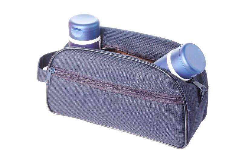torby kosmetyków mężczyzna s toiletries podróż fotografia stock