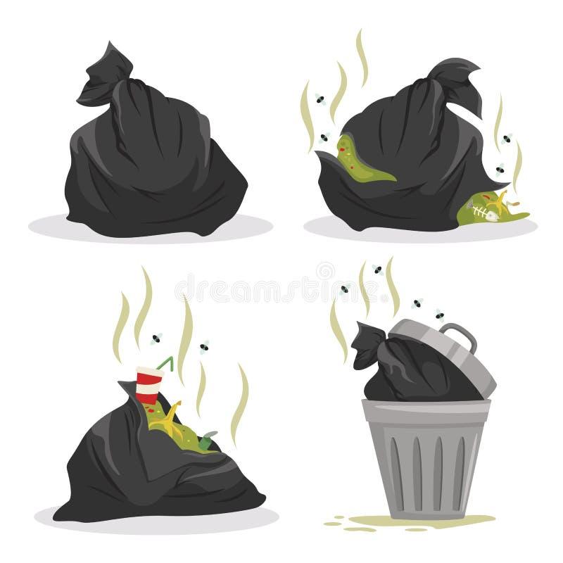 Torby na śmiecie z odpady setem, folujący ściółka zbiorniki royalty ilustracja