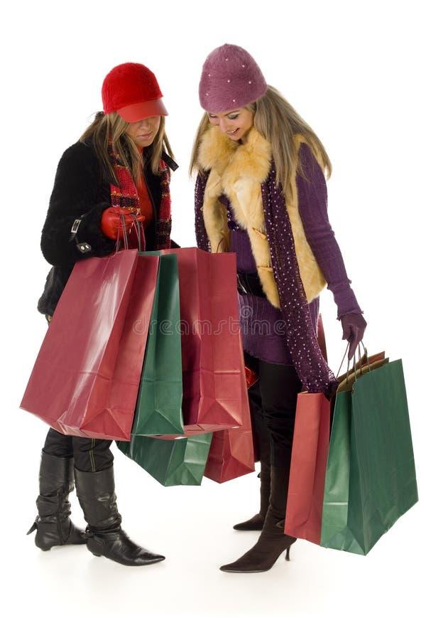 torby na zakupy dwie kobiety. obrazy royalty free