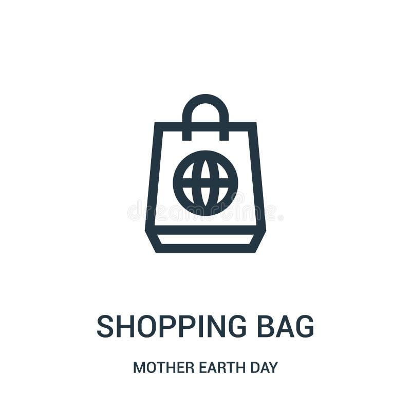 torby na zakupy ikony wektor od macierzystej ziemskiego dnia kolekcji Cienka kreskowa torba na zakupy konturu ikony wektoru ilust royalty ilustracja