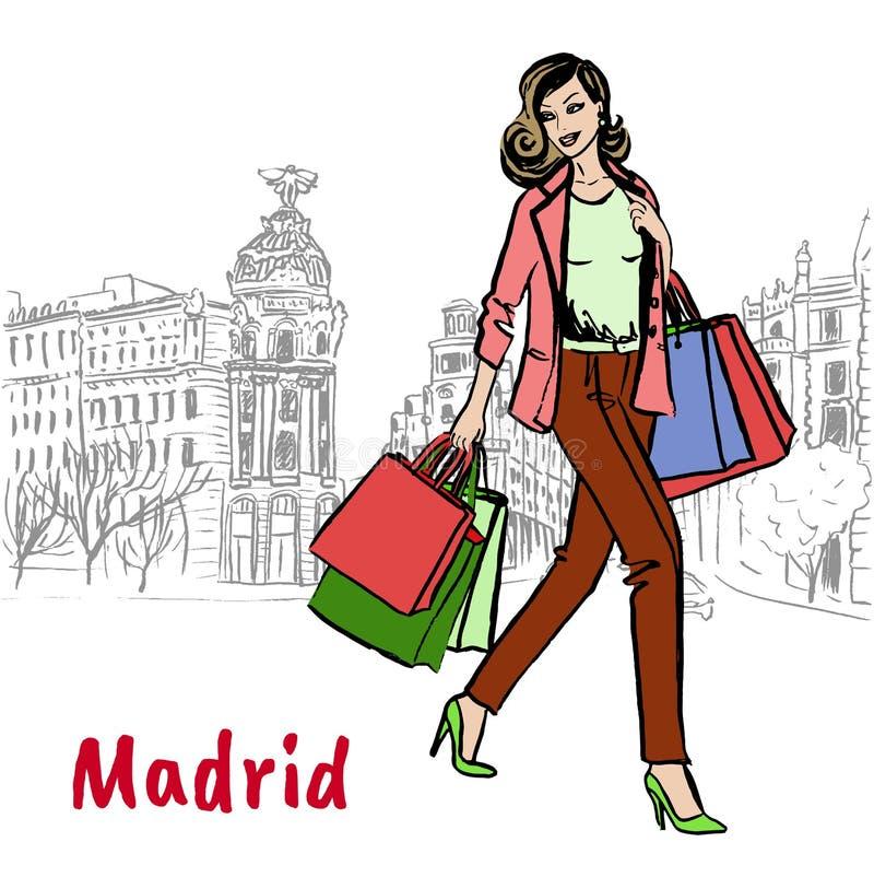 torby na zakupy kobiety royalty ilustracja