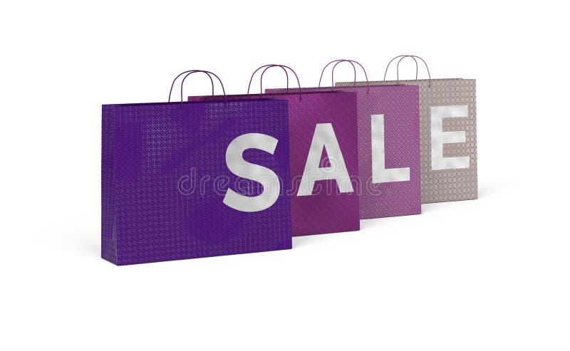 4 torby na zakupy robi słowu - sprzedaż ilustracja wektor