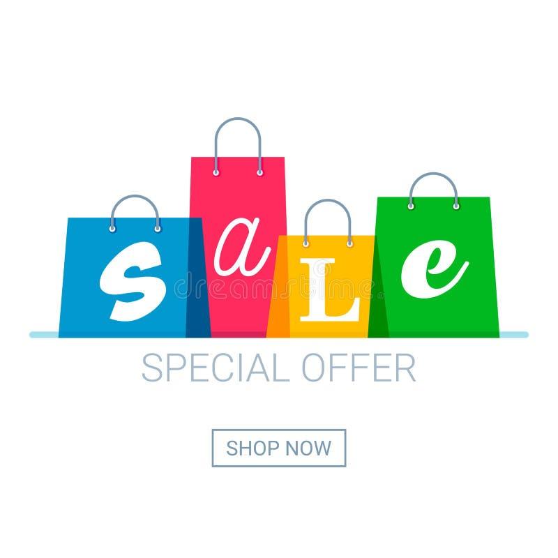 Torby na zakupy z sprzedaży inskrypcją Online zakupy logo teraz guzika zakup ilustracji
