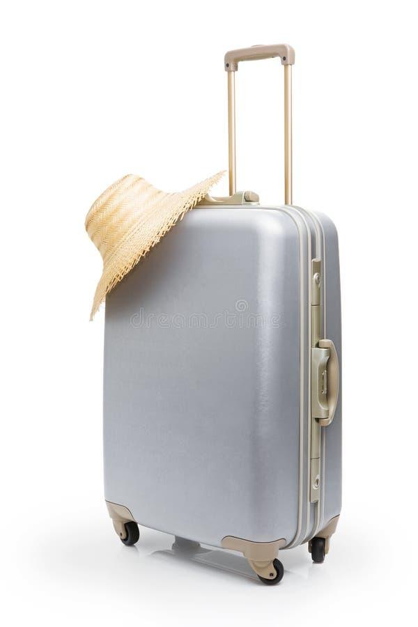 torby podróż kapeluszowa słomiana obraz royalty free