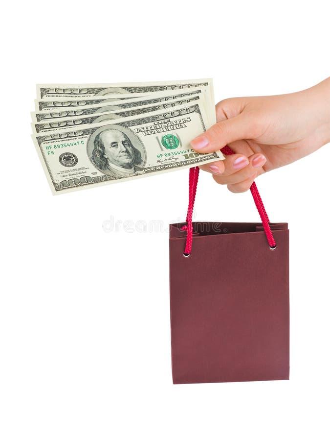 torby ręki pieniądze zakupy obraz stock