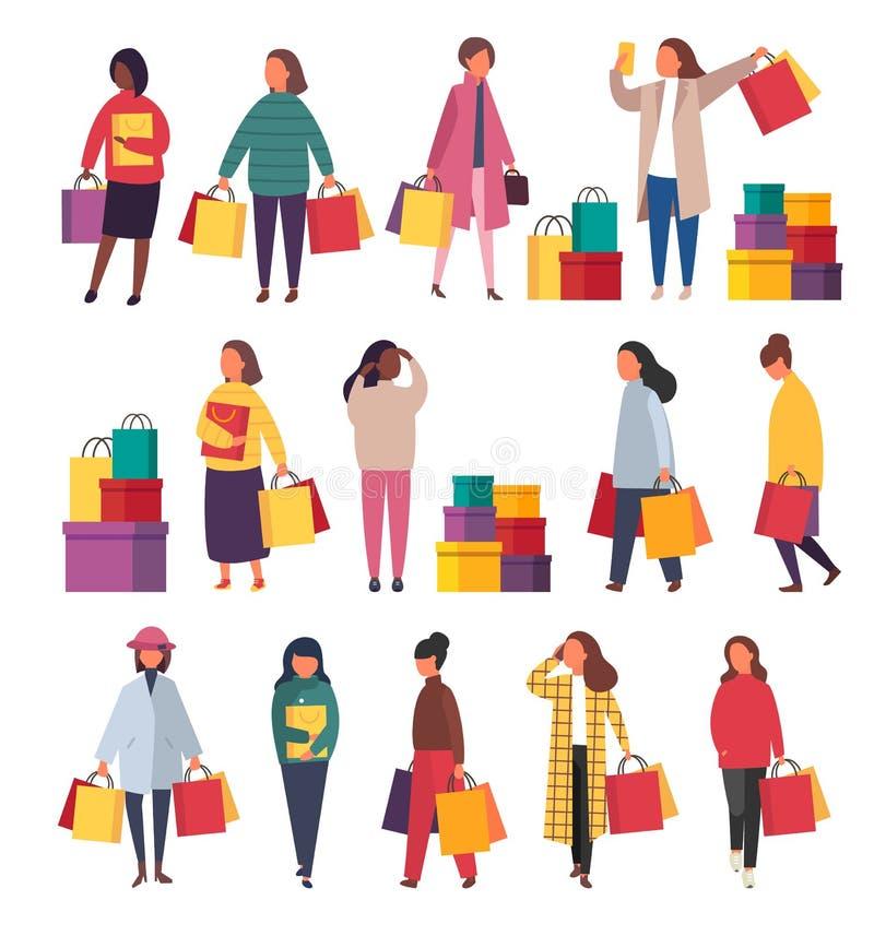 torby robi zakupy kobiety Wektorowa sprzedaży ilustracja ilustracja wektor