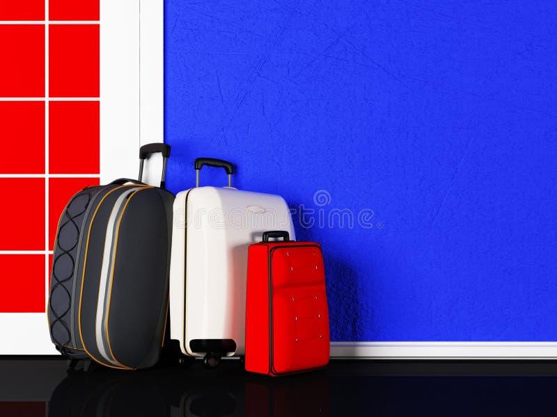 Download Torby stoją przy drzwi ilustracji. Ilustracja złożonej z podróż - 41955665