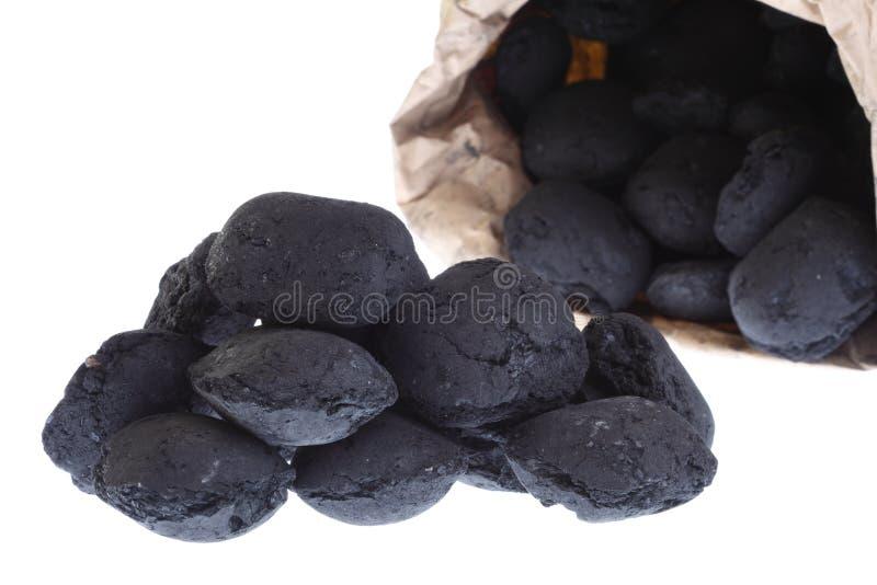 torby węgla węgiel odizolowywający bryłek worek obraz stock