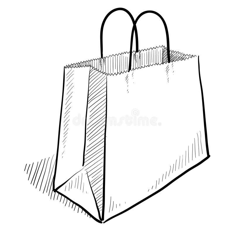 torby zakupy nakreślenie ilustracja wektor