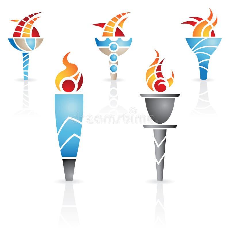 Torce olimpiche royalty illustrazione gratis