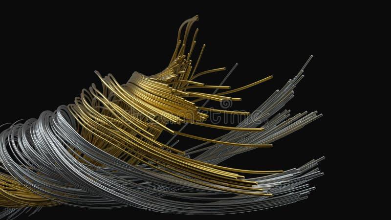 Torcendo fios de metal hastes de metal de fluxo no ar ilustra??o 3D ilustração do vetor