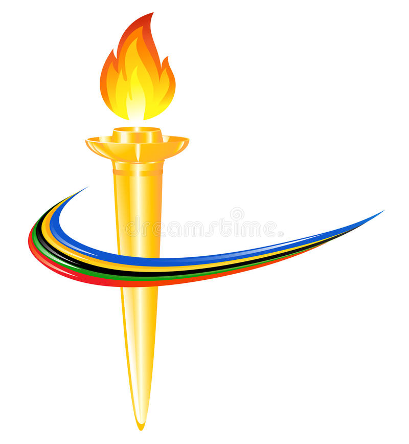 torch with the colors of the five continents stock vector