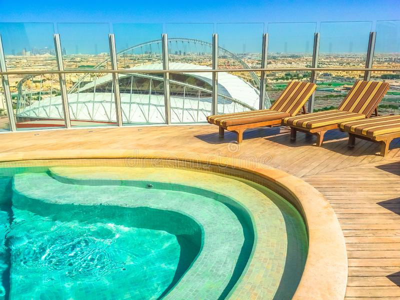 The Torch Doha aerial pool royalty free stock images