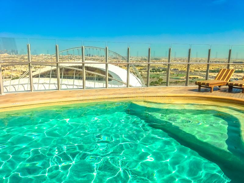 The Torch Doha swimming pool royalty free stock photos