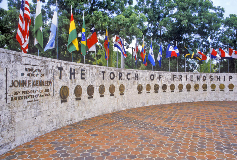 The Torch of Friendship and international flags at Bayside Park, Miami, Florida royalty free stock image