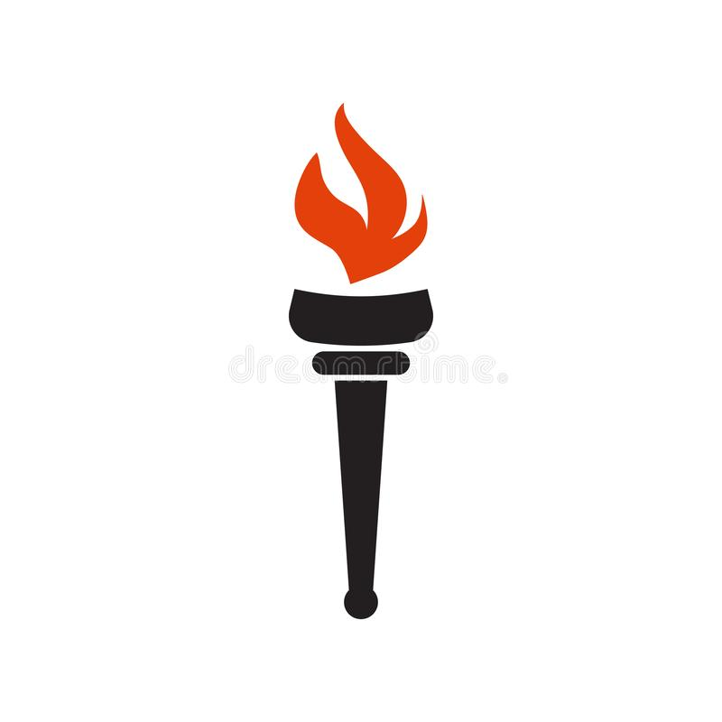 Torch graphic design template vector isolated illustration. Logo, flame, icon, logotype, red, passion, creative, silhouette, achievement, shape, winner stock illustration