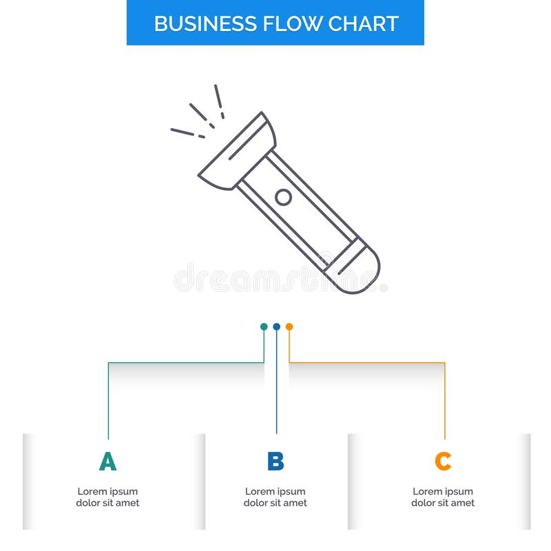 Torch, light, flash, camping, hiking Business Flow Chart Design with 3 Steps. Line Icon For Presentation Background Template Place. For text. Vector EPS10 royalty free illustration