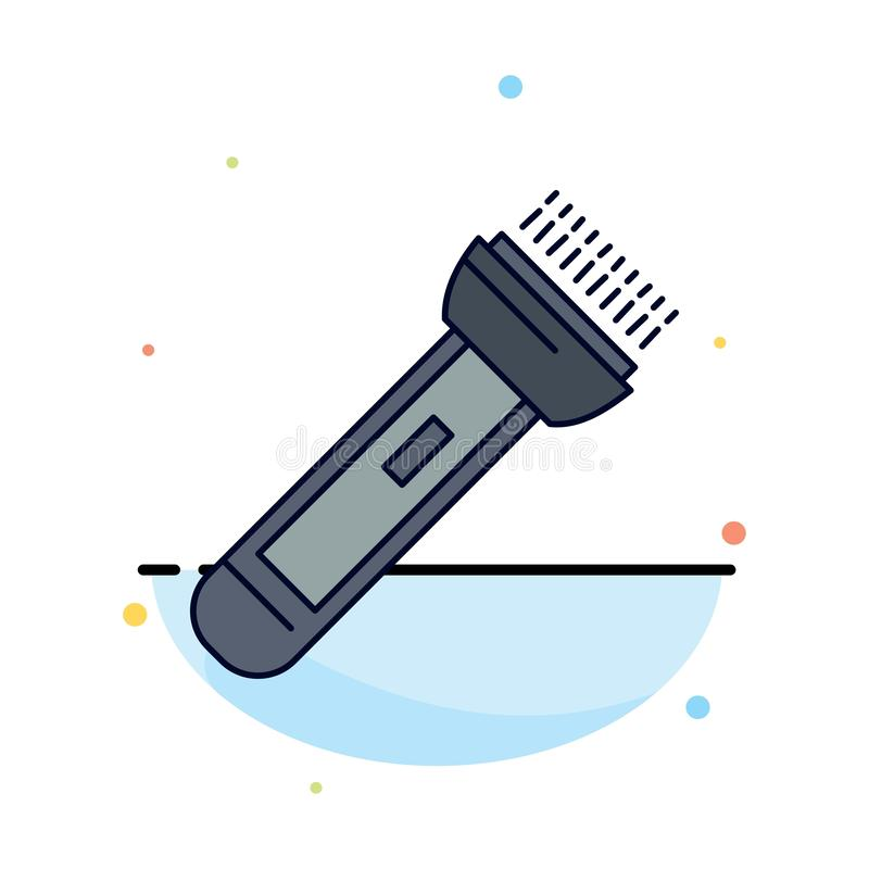 Torch, light, flash, camping, hiking Flat Color Icon Vector royalty free illustration