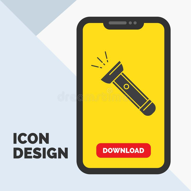 Torch, light, flash, camping, hiking Glyph Icon in Mobile for Download Page. Yellow Background. Vector EPS10 Abstract Template background royalty free illustration