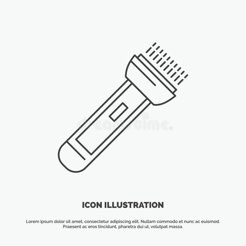 Torch, light, flash, camping, hiking Icon. Line vector gray symbol for UI and UX, website or mobile application. Vector EPS10 Abstract Template background royalty free illustration