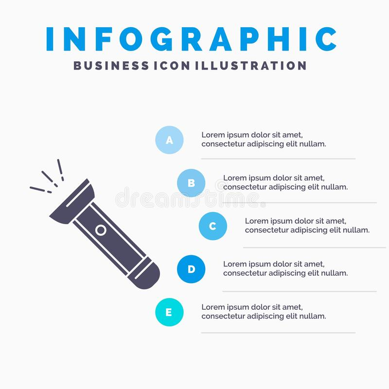 Torch, light, flash, camping, hiking Infographics Template for Website and Presentation. GLyph Gray icon with Blue infographic. Style vector illustration royalty free illustration