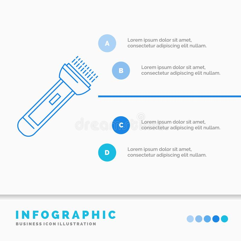 Torch, light, flash, camping, hiking Infographics Template for Website and Presentation. Line Blue icon infographic style vector. Illustration. Vector EPS10 royalty free illustration