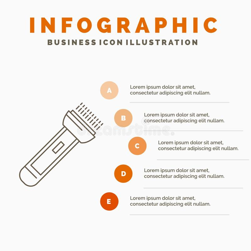 Torch, light, flash, camping, hiking Infographics Template for Website and Presentation. Line Gray icon with Orange infographic. Style vector illustration vector illustration