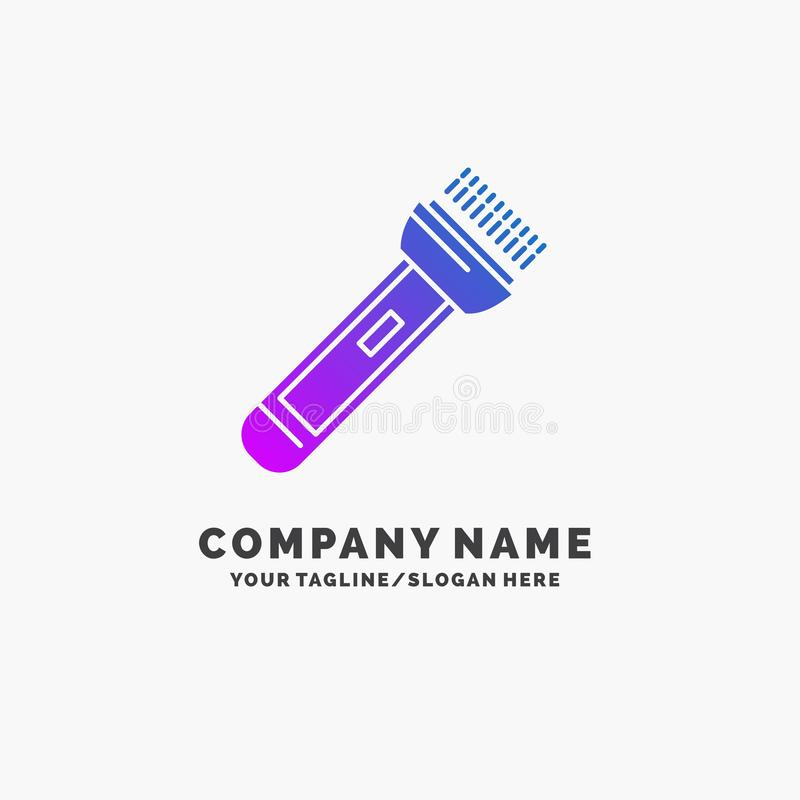 Torch, light, flash, camping, hiking Purple Business Logo Template. Place for Tagline. Vector EPS10 Abstract Template background vector illustration
