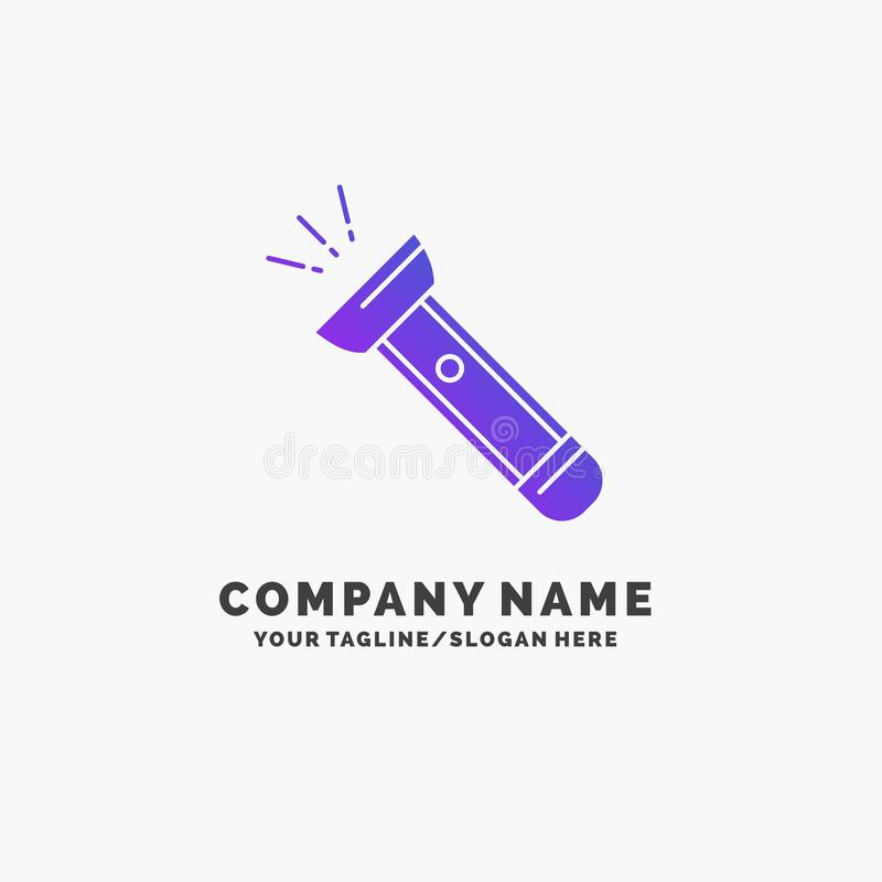 Torch, light, flash, camping, hiking Purple Business Logo Template. Place for Tagline. Vector EPS10 Abstract Template background stock illustration