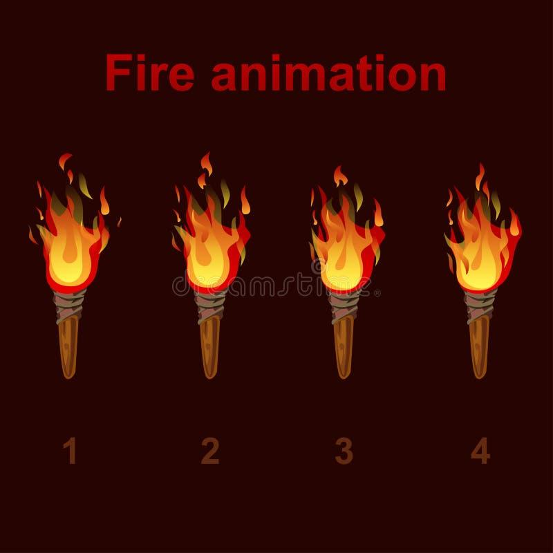 Torch los sprites de la animación del fuego, marcos video de la llama stock de ilustración