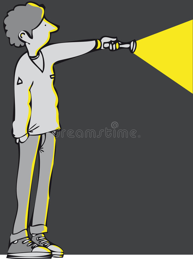 Torch. Man with a powerful flash light vector illustration