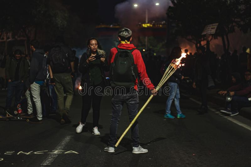 Torch Night Protest stock photo