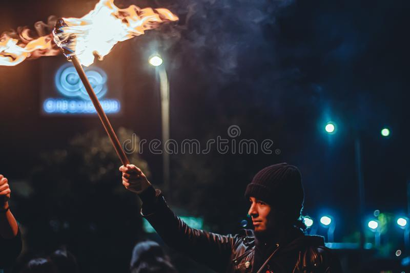 Torch Night Protest royalty free stock photo