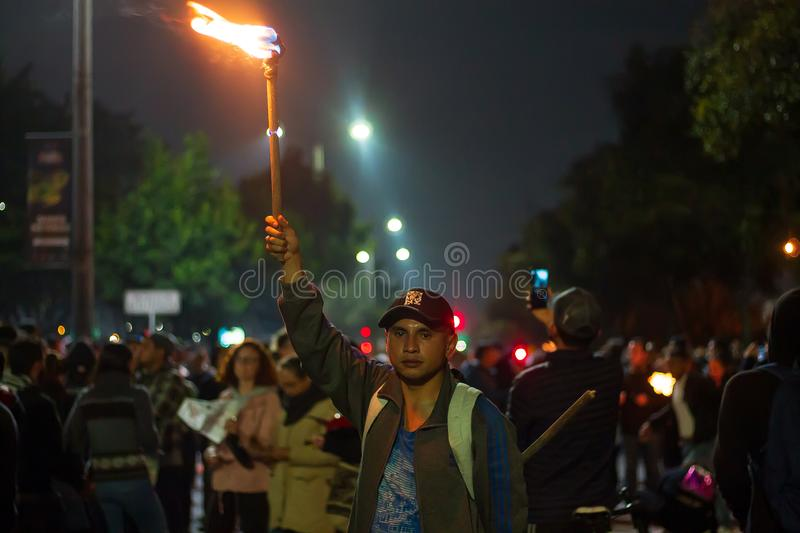 Torch Night Protest royalty free stock image