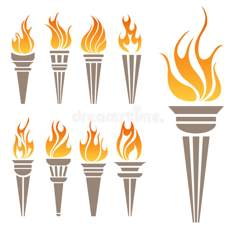 Torch symbol set. Abstract burning Torch and fire symbol set isolated on white stock illustration