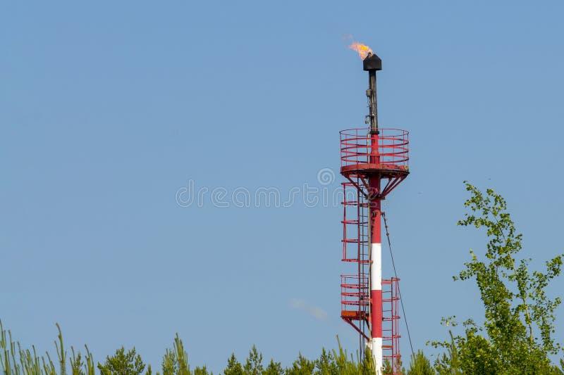Torch voor de verbranding van industrieel geassocieerd petroleumgas in het veld royalty-vrije stock fotografie