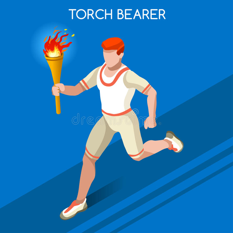 Olympics Paralympics Torchbearer Relay Running Men Summer Games Icon Set.Speed Concept.3D Isometric Athlete.Sporting Competition. Olympics Paralympics Game Rio royalty free illustration