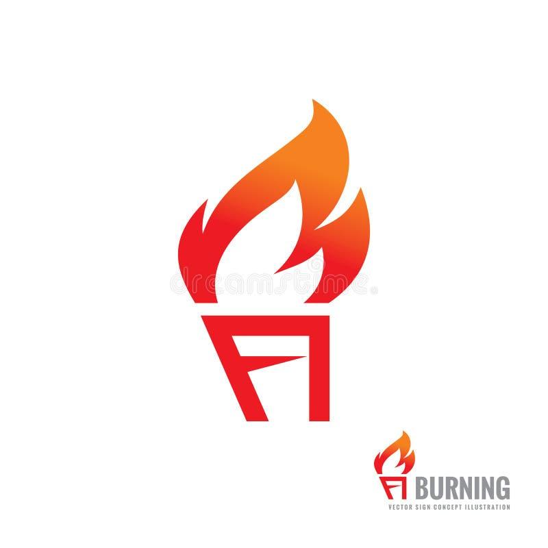 Torche brûlante - dirigez l'illustration de concept de calibre de logo Signe créatif de flamme du feu Élément de conception illustration stock