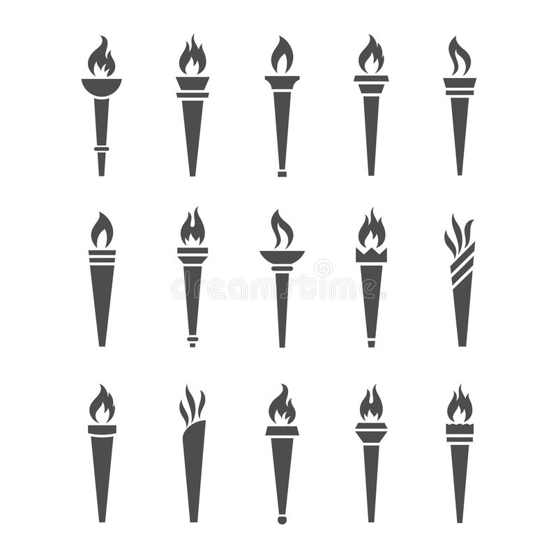 Torche d'icônes avec l'ensemble de vecteur d'isolement par flamme illustration de vecteur