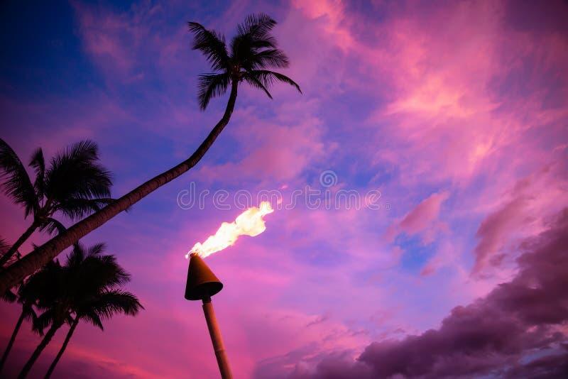 Torche de Tiki contre le coucher du soleil tropical photos stock