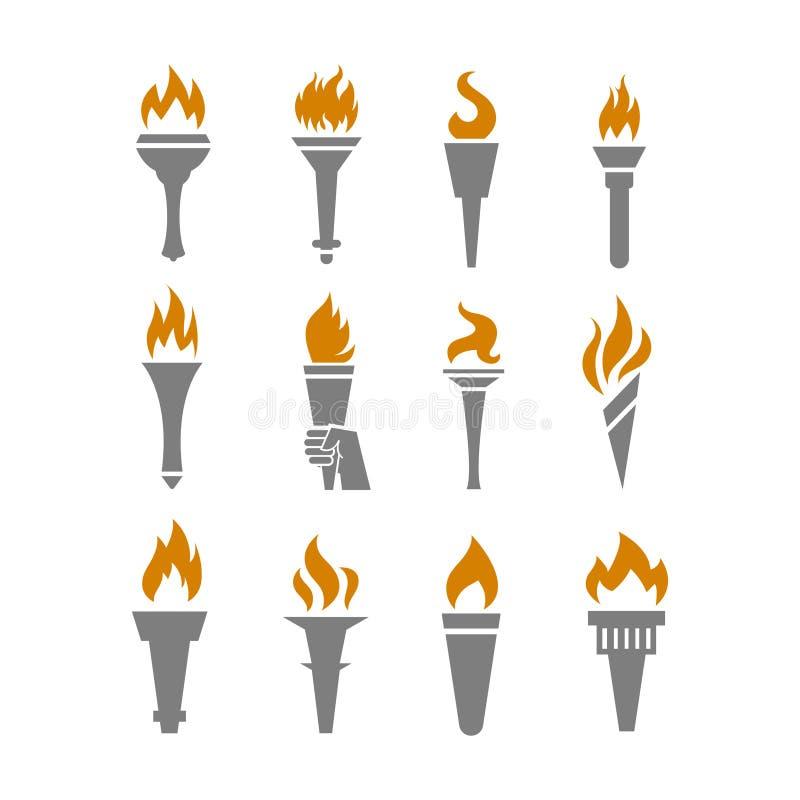 Torche du feu avec les icônes plates de flamme réglées illustration de vecteur