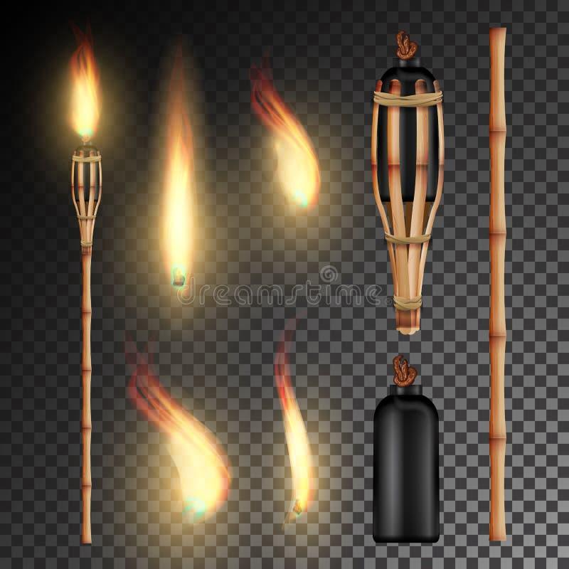 Torche en bambou de plage brûlante Combustion dans la torche réaliste de fond transparent foncé avec la flamme Illustration de ve illustration libre de droits