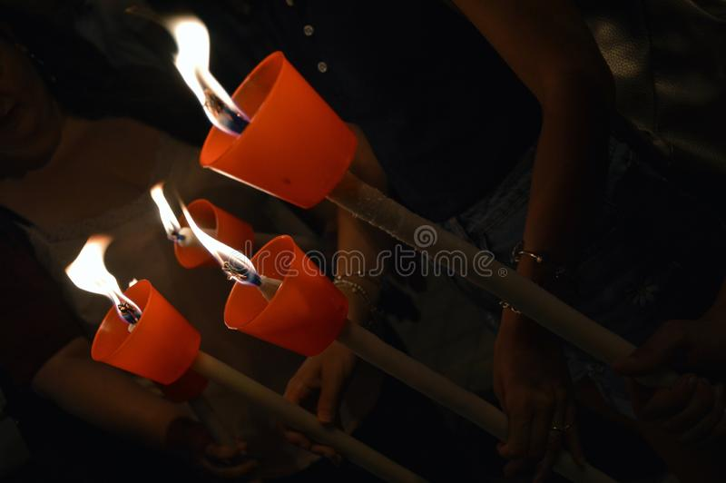 Torchlight procession - Palermo, Italy - Detail stock photos