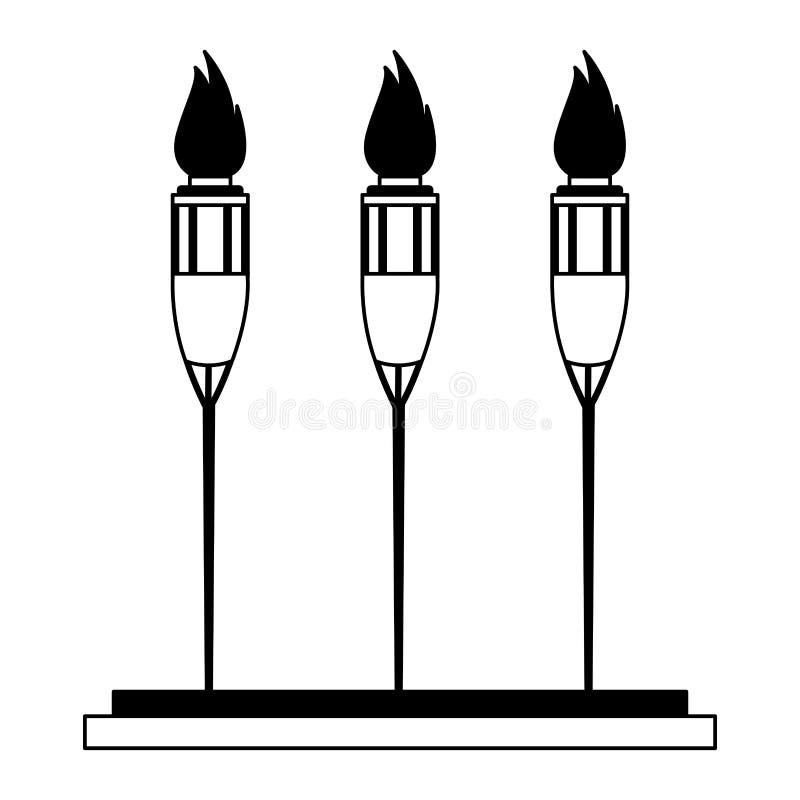 Torchs auf dem Feuer lokalisiert in Schwarzweiss stock abbildung