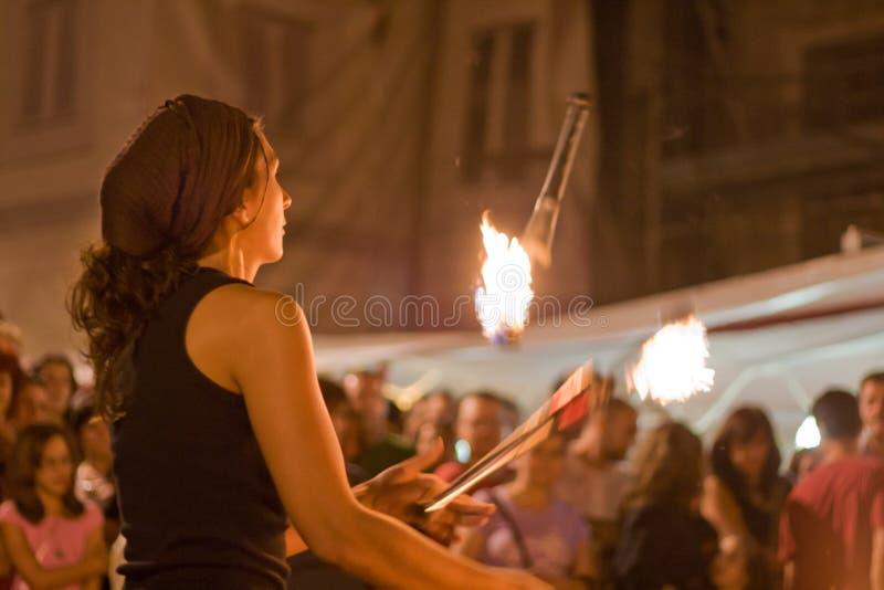 Torchs durante o festival da cultura de Almossasa fotografia de stock