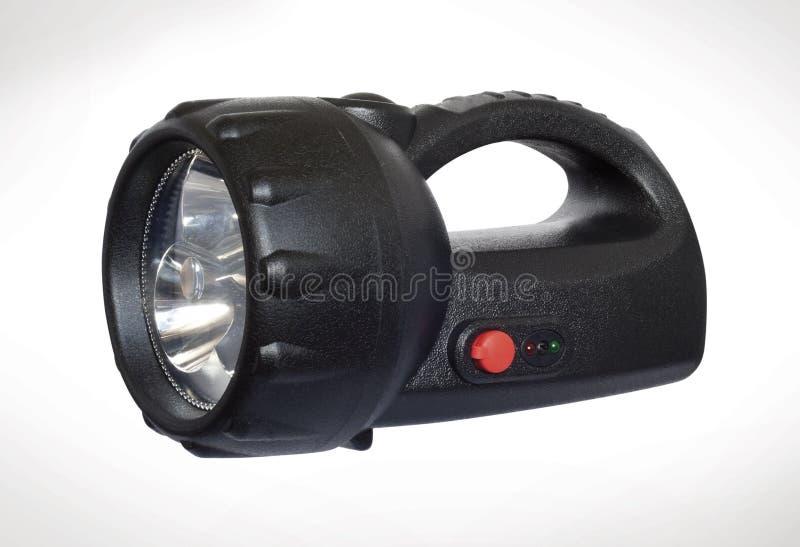 Torcia di plastica della maniglia nera LED fotografia stock