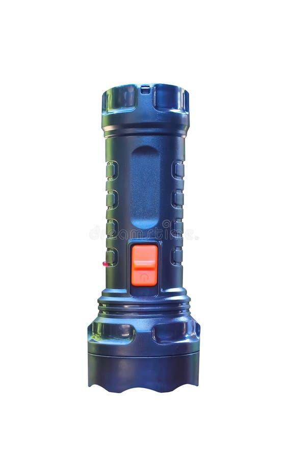 Torcia elettrica di plastica nera nel verticale isolata su fondo bianco con il percorso di ritaglio fotografia stock libera da diritti
